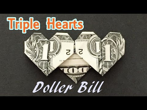 Dollar Bill Origami Triple Heart | How to Fold Hearts out of Money | Valentine's Crafts from $1