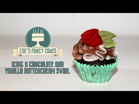 Icing a chocolate and vanilla buttercream swirl cupcake How To Tutorial Zoes Fancy Cakes