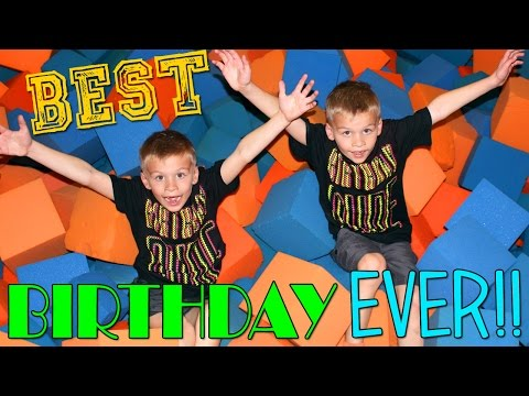 Twins Birthday Party at the Trampoline Park With a HUGE CAKE!!
