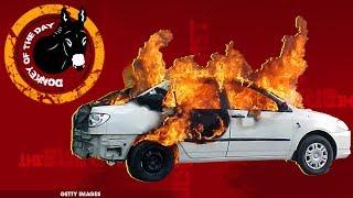 Man Abandons Burning Vehicle With Friend Inside, Hails Cab