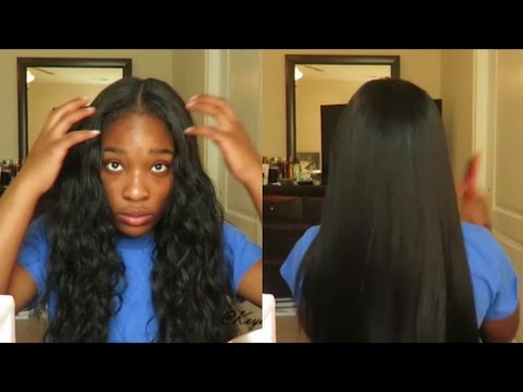 Straightening Raw Cambodian Wavy/Curly Hair Silky Straight