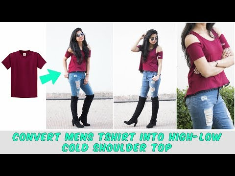 Convert Tshirt Into High low Cold Shoulder Top in 10 minutes