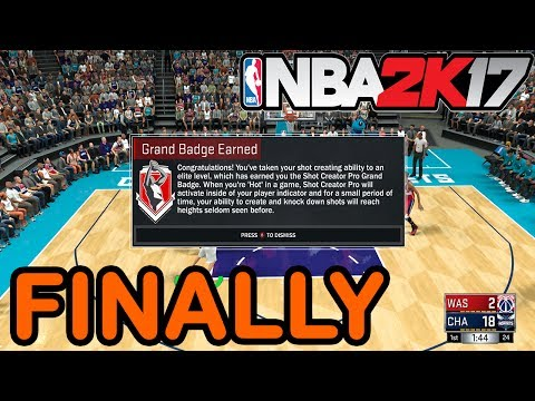 HOW TO GET THE SHOT CREATOR PRO GRAND BADGE - NBA 2K17
