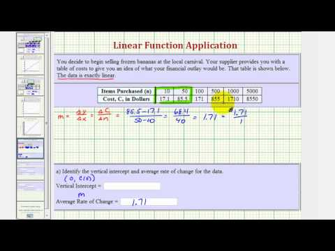 Ex: Determine a Linear Function and Answer Questions Given a Table of Values
