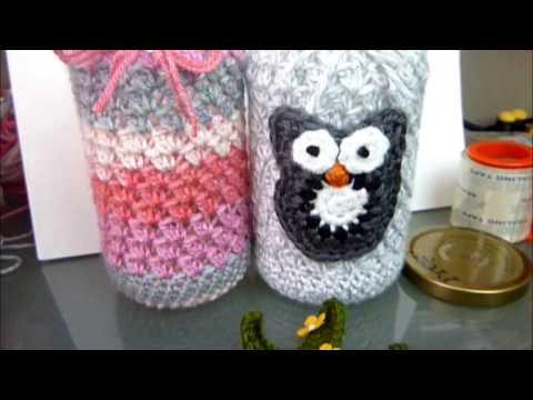 16oz Crocheted Cute Textured Mason Jar Cover / Video Tutorial