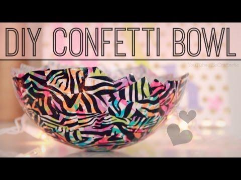 DIY Confetti Bowl - Papier–Mâché with Mod Podge   SoCraftastic