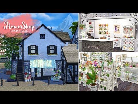 FLOWER SHOP & FLORIST HOUSE Sims 4 || Speed Build || Simsbiosis