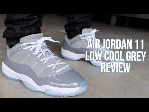 AIR JORDAN 11 LOW COOL GREY REVIEW!