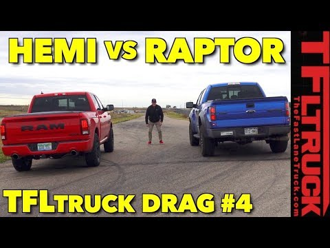 Which V8 is Faster? Ram 1500 HEMI vs Ford SVT Raptor Drag Race