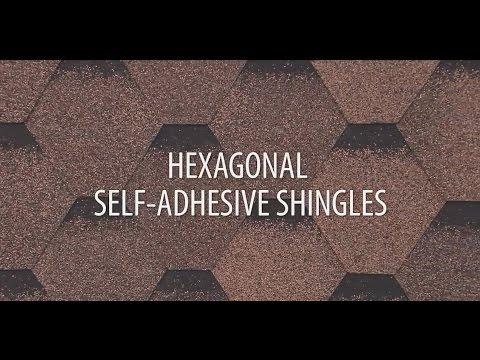 Installing hexagonal self-adhesive roof shingles