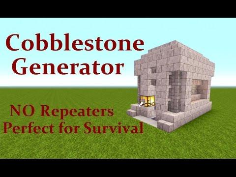 Minecraft Tutorial : Automatic Cobblestone Generator,  NO Repeaters