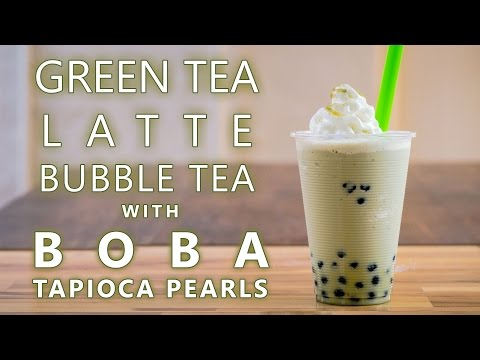 How to Make Green Tea Latte Bubble Tea with Boba Tapioca Pearls