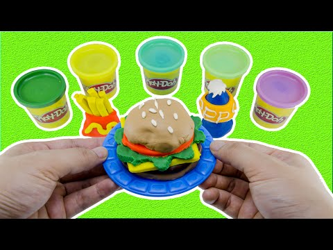 Play Doh Cookout Creations Playdough make Hotdogs Hamburgers French Fries Fast Food