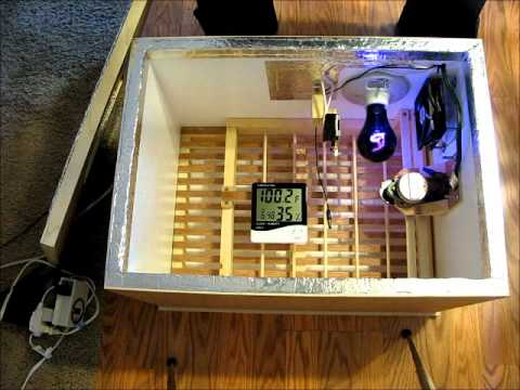 Homemade Incubator with Fan, Thermostat, and Automatic Egg Turner