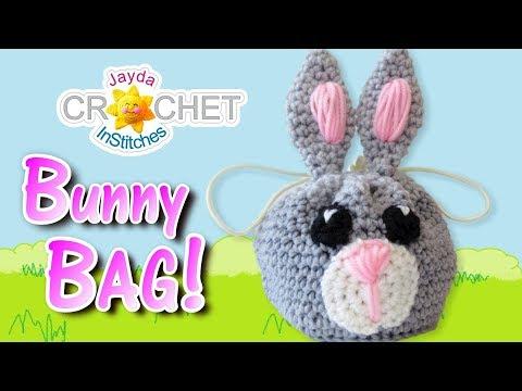 Crochet Bunny Rabbit Drawstring Bag / Sack