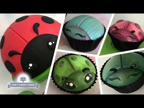 Cute bug cupcakes and ladybug cake decorating tutorial