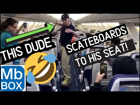Guy skateboards to his seat on a Southwest flight! 😲