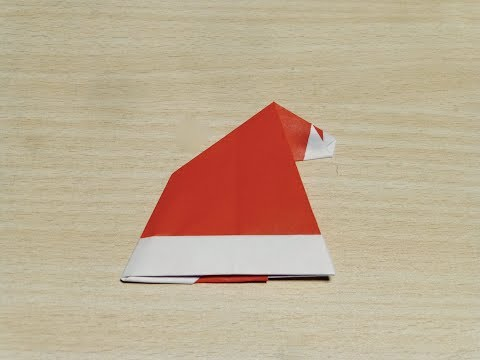 【DIY craft】How to make Santa's hat. Origami. The art of folding paper.