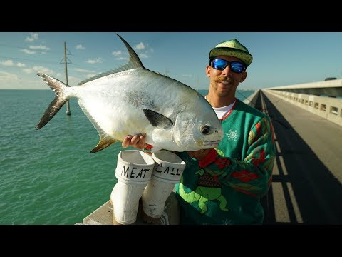 Highly Prized Fish Caught on Side of the Road.. Florida Keys Bridge Fishing