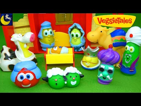 The Christmas Story Veggie Tales Nativity Scene Play Set Toys for Kids Toddlers Children Toy Video