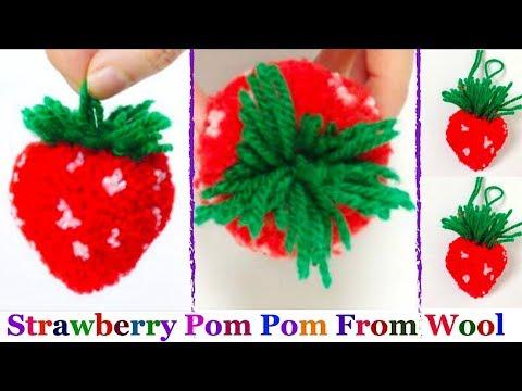 How to make yarn/wool Strawberry step by step at home -Strawberry pom pom | DIY Yarn/Wool craft idea
