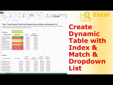 Create Dynamic Table with Complex Index and Match and Dropdown List