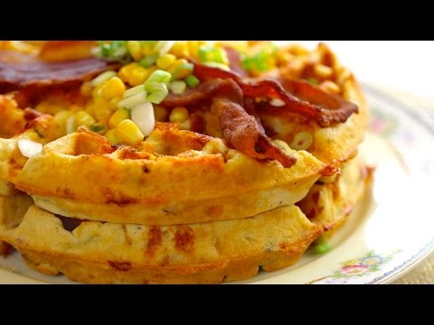 Bacon & Cheddar Cornmeal Waffles - Gemma's Bold Baking Breakfast Ep.  2