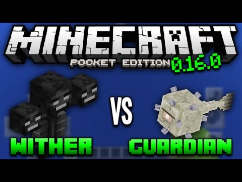 WITHER VS GUARDIAN IN 0.16.1! - 0.16.1 MCPE Boss Fight - Minecraft Pocket Edition