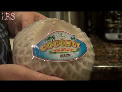 ⟹ Thai baby coconut, Whats inside? taste test and review