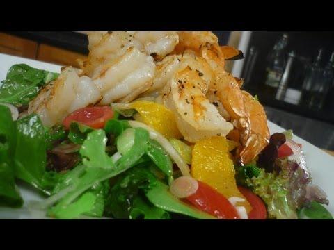 Fire Roasted Shrimp Salad with Ginger Orange VInaigrette