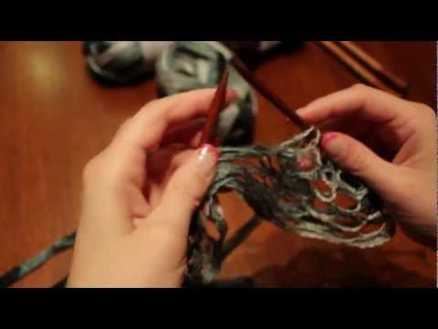 How to knit a Ruffle Scarf and fix a knot when knitting ruffle yarn