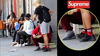STEPPING ON HYPEBEAST'S YEEZYS AT SUPREME!