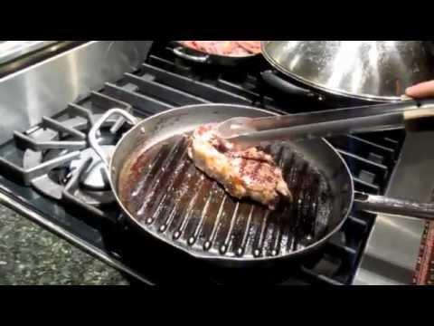 Strip Steak with Garlic Mashed Potatoes, Greens & Mushrooms