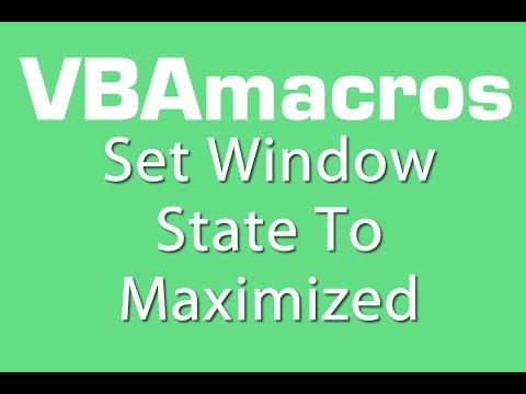 Set Window State To Maximized- VBA Macros - Tutorial - MS Excel 2007, 2010, 2013