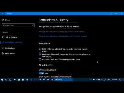 Windows 10 Fall Creators update Cortana settings search and cloud history