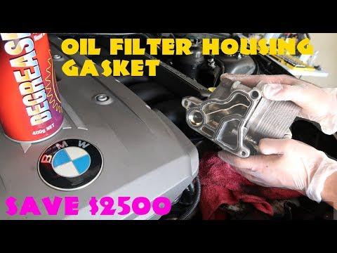 e90 Oil Filter Housing Gasket Change (EASY)  // BMW 330i 2006 (E90,E91,E92)