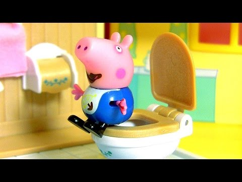 Pig George Has Tummy Ache after Eating Cake and Goes to the Toilet Candy | Play Doh Peppa Pig