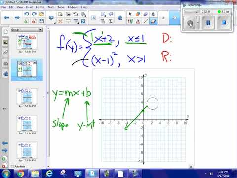 Graph a piecewise function, domain and range #5