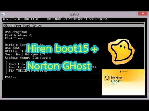 Hiren boot15 + Norton Ghost  ลง USB