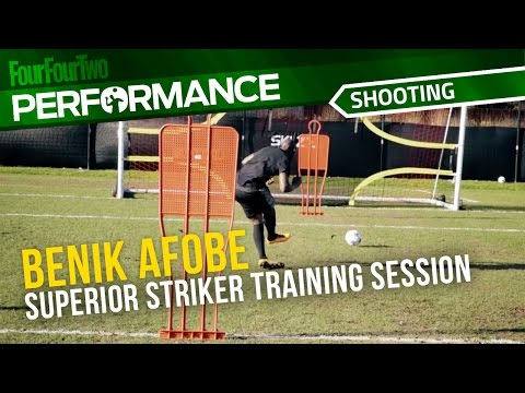 Superior Striker trains with Benik Afobe   Soccer shooting drill   Pro training