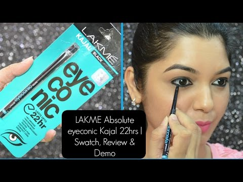 Lakme Eyeconic Kajal 22 Hrs Swatch Review Demo