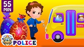 ChuChu TV Police Save School Children from Bad Guys in the School Van | ChuChu TV Surprise Eggs Toys