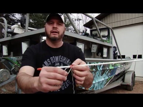 AMS Bowfishing: Tying line to the safety slide specifics
