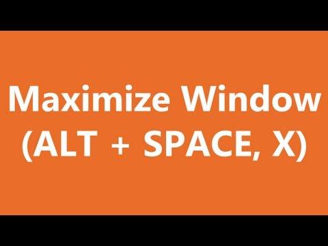 Excel Shortcuts - Maximize Window