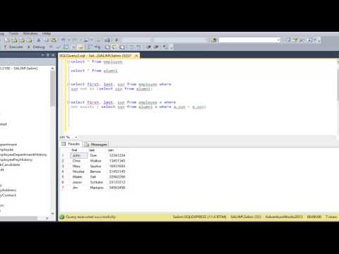 Video 5 -  Basic SQL Server Tutorial For Beginners : 'Not In' query and 'Not Exists' query