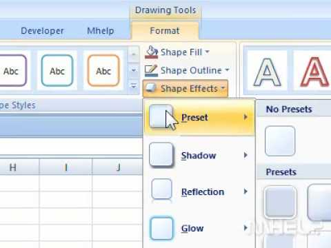 How to change a 3-D effect for a shape in Excel