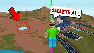 USING ADMIN COMMANDS TO DELETE THE JAILBREAK MAP! (Roblox)