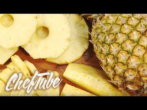 Preparing pineapples