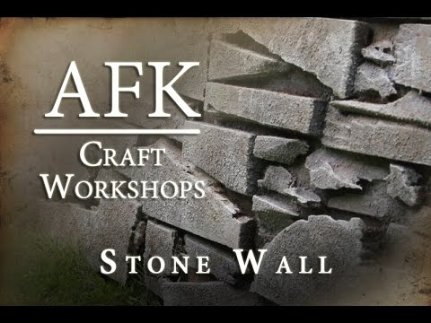 AFK Craft - how to build a fake stone wall tutorial