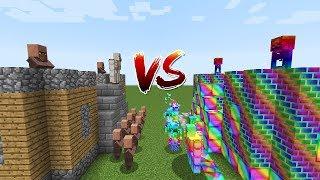 Minecraft Battle: CASTLE VILLAGER VS CASTLE RAINBOW MONSTER